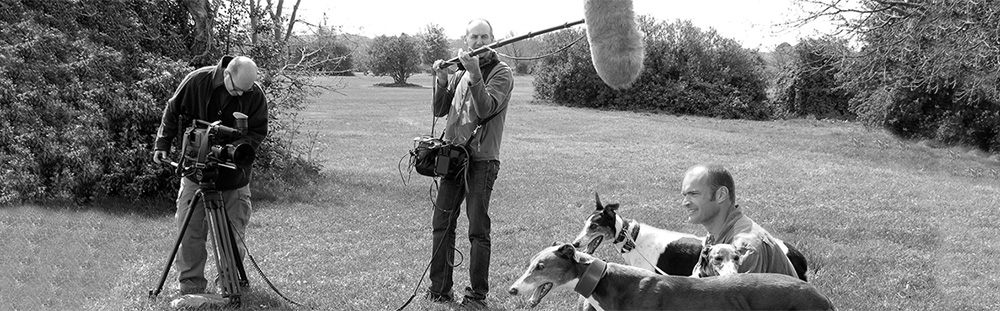 Image of Ian Kirton - sound recordist, David Brown - cameraman and Monty Halls - TV presenter
